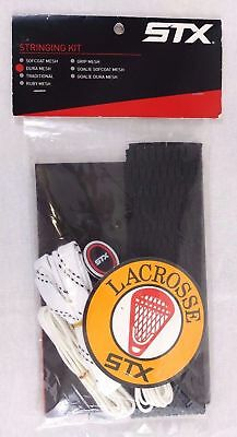 STX Lacrosse Dura Mesh Stick Stringing Kit Black with White Laces (as pictured)