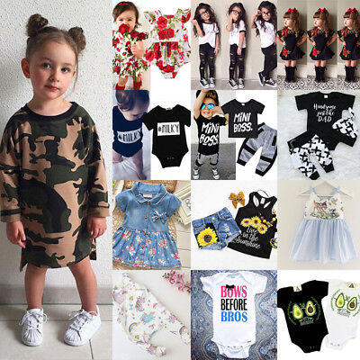 UK Stock Baby Kids Girls Boys T-shirt Pants Dress Summer Outfits Clothes Set