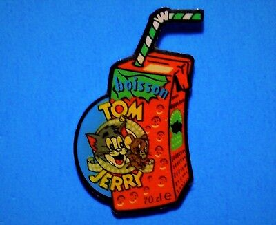 Tom And Jerry - Juice Box & Straw - Cat & Mouse Cartoon - Vintage Lapel Pin