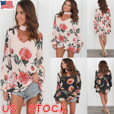 Plus Size Womens Choker V Neck Floral T-Shirt Ladies Casual Loose Tops Blouse US