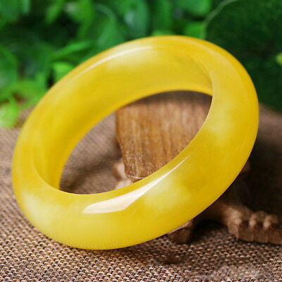 57-65 mm Genuine Natural Chicken Oil Yellow Baltic Amber Woman Bangle Bracelet .