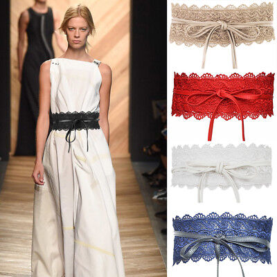 Wide Lace Up Waistband Corset Dress Tied Bowknot Wrap Band Belt Accessories Girl
