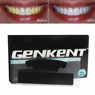 genkent activated charcoal teeth whitening strips 2 week supply 28 strips UK