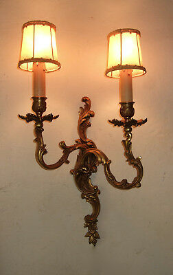 Very Large Antique French Gilt Bronze Louis Xv 2 Branch Wall Sconce, Light