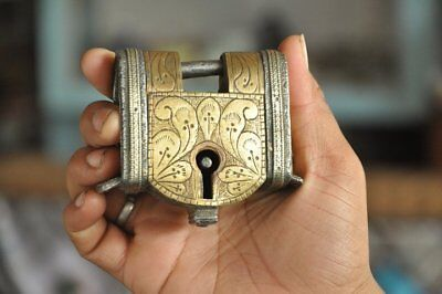 Old Iron Brass Fitted Inlay Engraved Handcrafted Unique Padlock , Rich Patina