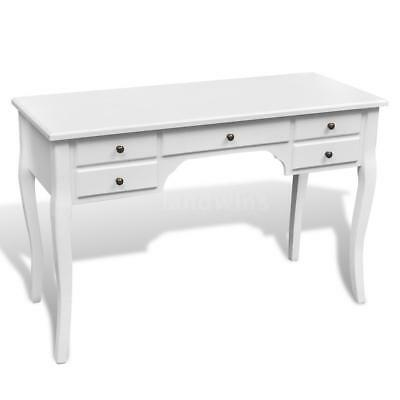 Wooden French Desk with Curved Legs and 5 Drawers Furniture White Quality P2I0