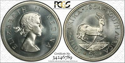 South Africa, 1954 Elizabeth II Five Shillings, 5 Shillings, Crown. PCGS PL 65.