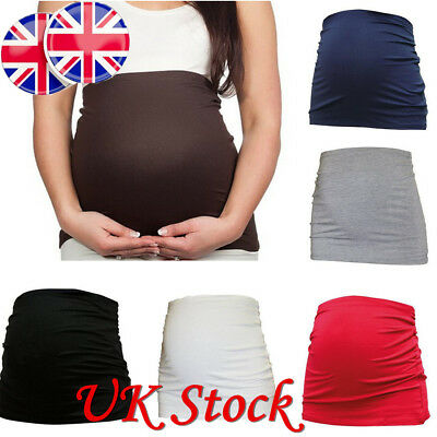 MATERNITY PREGNANCY QUALITY BELLY BAND BUMP TOP Black /White NURSING TUMMY COVER