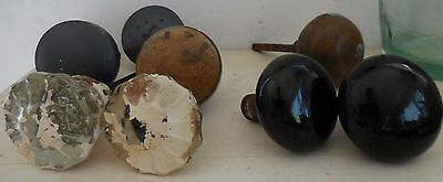 Vintage Lot Door Knobs Porcelain Glass Metal Brass