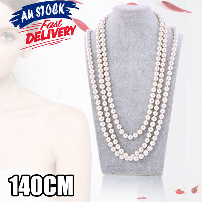 1920's 30's 40's 120cm Flapper Party Costume Gangster Long Bead Pearl Necklace