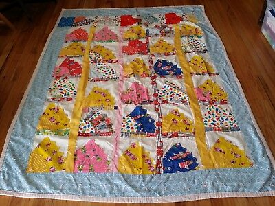 Vintage Handmade Grandmother's Fan Quilt Hand Sewn Flannel Back 55 x 78
