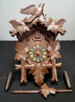 VTG Antique 1940s 50s Shatz 8 Day Black Forest German Cuckoo Clock Parts Repair