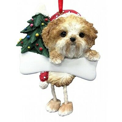 Shih Tzu Tan Puppy Dangling Wobbly Leg Dog Bone Christmas Ornament