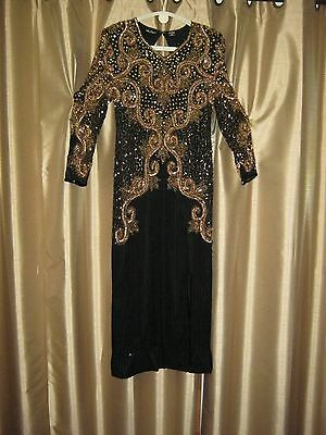 Black 100% Pure Silk Beaded Sequence Evening Formal Gown