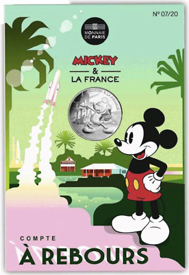 UNCIRCULATED SILVER 10 Euro 2018 France coin Mickey Mouse Spaceship Countdown