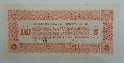 Egyptian Delta Light Railways Limited 5 dollars 1930s bond banknote VERY RARE