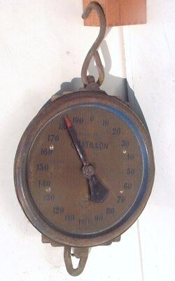 VINTAGE CHATILLON 200 Pound BRASS FACE HANGING SCALE 33 Serial H New York City