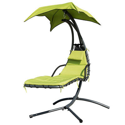 Hanging Chaise Lounger Chair Arc Stand Air Porch Swing Hammock Chair + Canopy US