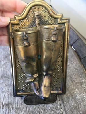 Pair Brass Boots Match Stick Holder Wall Mount Ships FREE