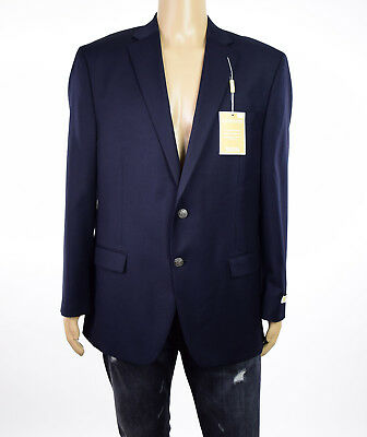 Michael Kors Mens Navy Two Button Wool Wrinkle Resist Solid Blazer Sportcoat 44R