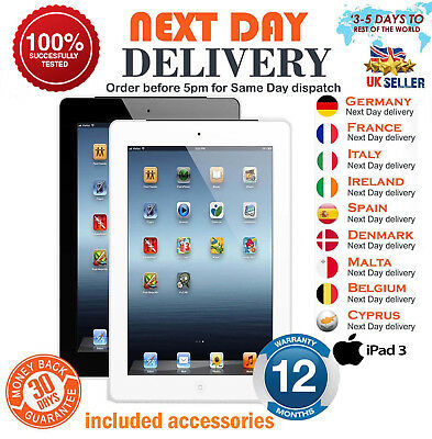 Apple iPad 3 16GB 32GB 64GB Wi Fi Cellular 4G Unlocked 9.7 Retina Various Grades