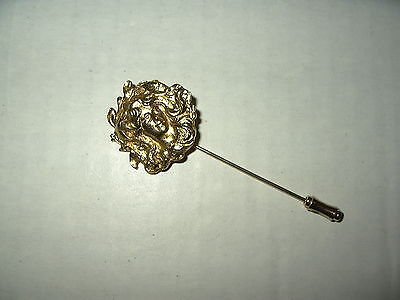 Vintage Art Nouveau Style Goldtone Woman With Flowing Hair Stick Pin Brooch