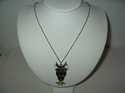 Cute Vintage 2 Tone Gold & Silver Articulated Owl Pendant & Chain Necklace