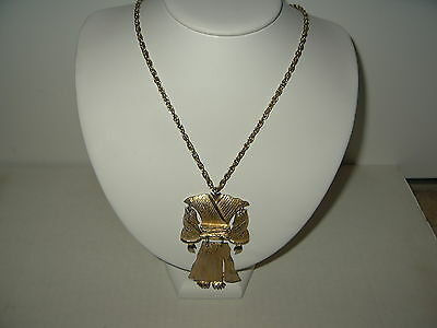 Vintage Large Goldtone Chinese Tibetan Costume Dress Movable Pendant With Chain