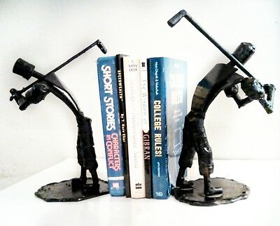 Pair of Antique handmade cast iron golf statues paper weight bookends