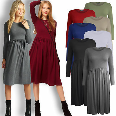 Ladies Womens Short Cap Sleeves Plain Belted Flared Swing Midi Skater Dress Top