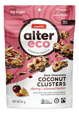 Organic Dark Chocolate Coconut Clusters - Cherry 91g - Alter Eco