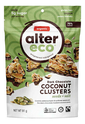 Organic Dark Chocolate Coconut Clusters - Seeds & Salt 91g - Alter Eco