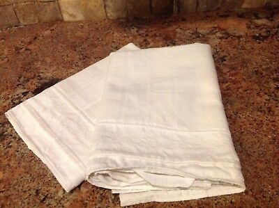Pair Antique French Tea Torchons Linen Large Kitchen Towels with Loops T04