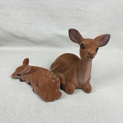 Flocked Felt Like Deer Vintage Doe and Fawn Figurines Bambi Mom and Baby