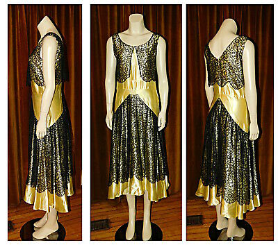 Vintage 1930's ART DECO Satin & Lace Bias Cut Evening Party Dress