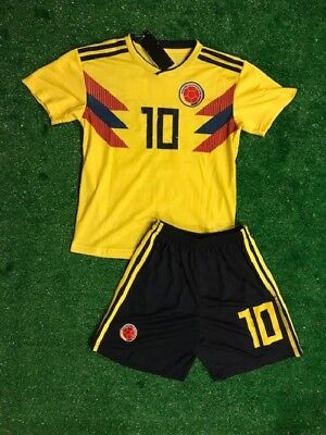 958ab6eb6 James Colombia Yellow Home Kids Jersey + Shorts World Cup 2018 All Youth  Sizes