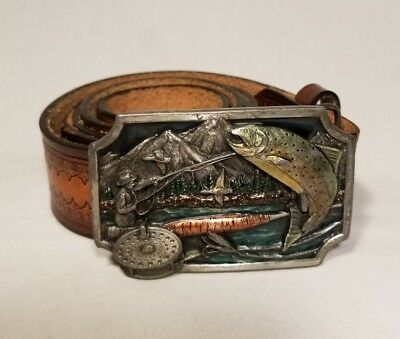 Vintage Siskiyou Buckle Co. Leather Fly Fishing Painted Pewter