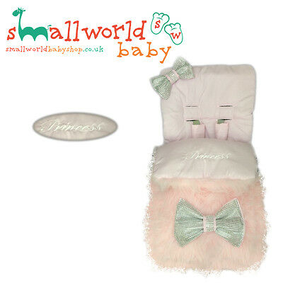 Universal Footmuff Cosy Toes Personalised Pram Fur Buggy Stroller Girls