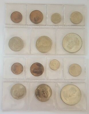South Africa:1967 Afrikaans and English Mint Sets With Silver 1 Rand - 7 Coins