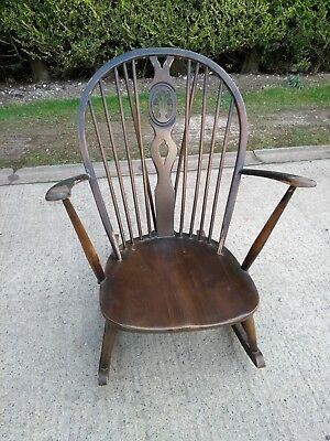 Vintage Ercol Grandfather Rocking Chair Model 316 Fleur De Lys Old Colonial