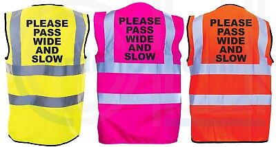 Please Pass Wide And Slow Hivis Safety Vest Equestrian. High Viz Waistcoat S-4Xl