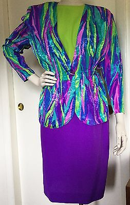 Vintage 80s Caron Petite Purple Blue Green Skirt Suit Small New With Tags