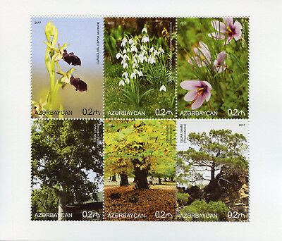 Azerbaijan 2017 MNH Flora Nature Flowers Trees Snowdrops 6v M/S Stamps