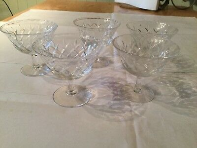 REDUCED Stuart  Crystal Champagne Saucers 5 only lovely design immaculate