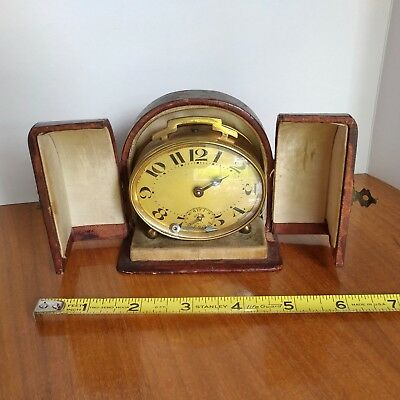 Antique Vintage Art Deco French Bayard Oval Alarm Clock in Fitted Leather Case