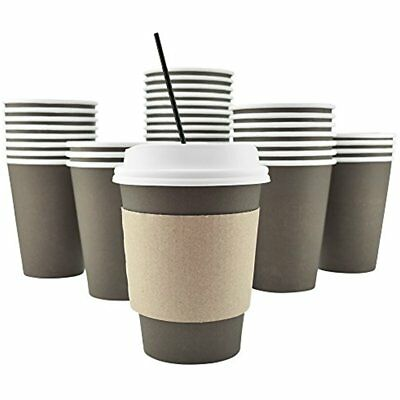 100 Pack 12 Oz 8, 16, 20 Disposable Hot Paper Coffee Cups, Lids, Sleeves, Straws