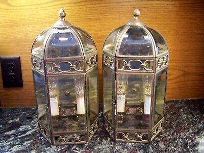 2-Vintage Solid Brass & Beveled glass Outdoor dual Light Fixtures Wall Porch