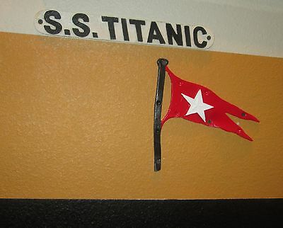 Titanic Life Boat White Starline Flag And S.s. Titanic Life Boat Plaque