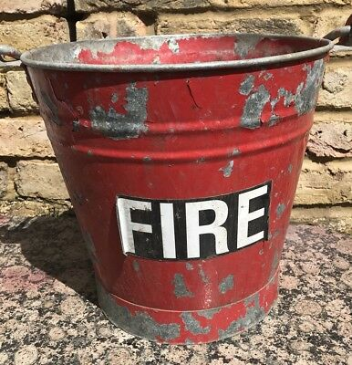 Vintage Red Metal Fire Bucket