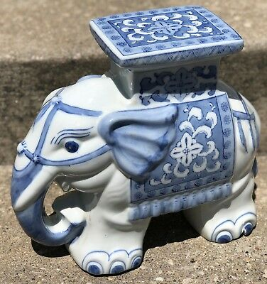 Vintage 12 5 China Porcelain Blue White Asian Elephant Plant Stand Table
